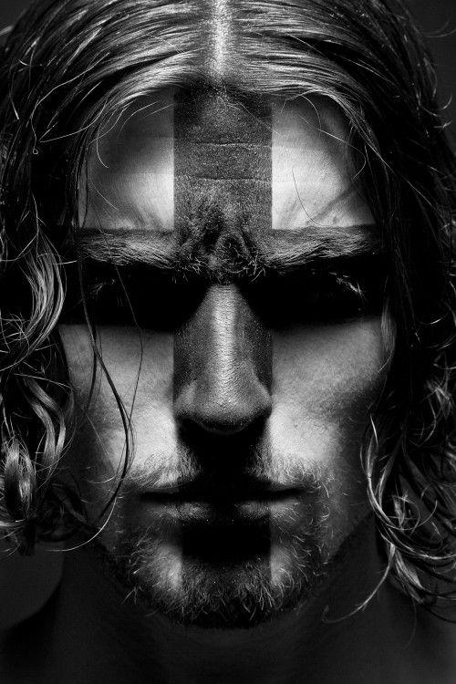 Black And White Man Portrait Face With Cross Paint Pagan Men Viking Men Portrait
