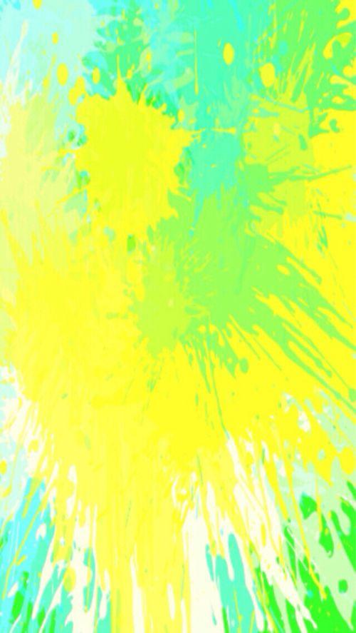 Neon Yellow Green Turquoise Watercolour Splash Splatter Iphone