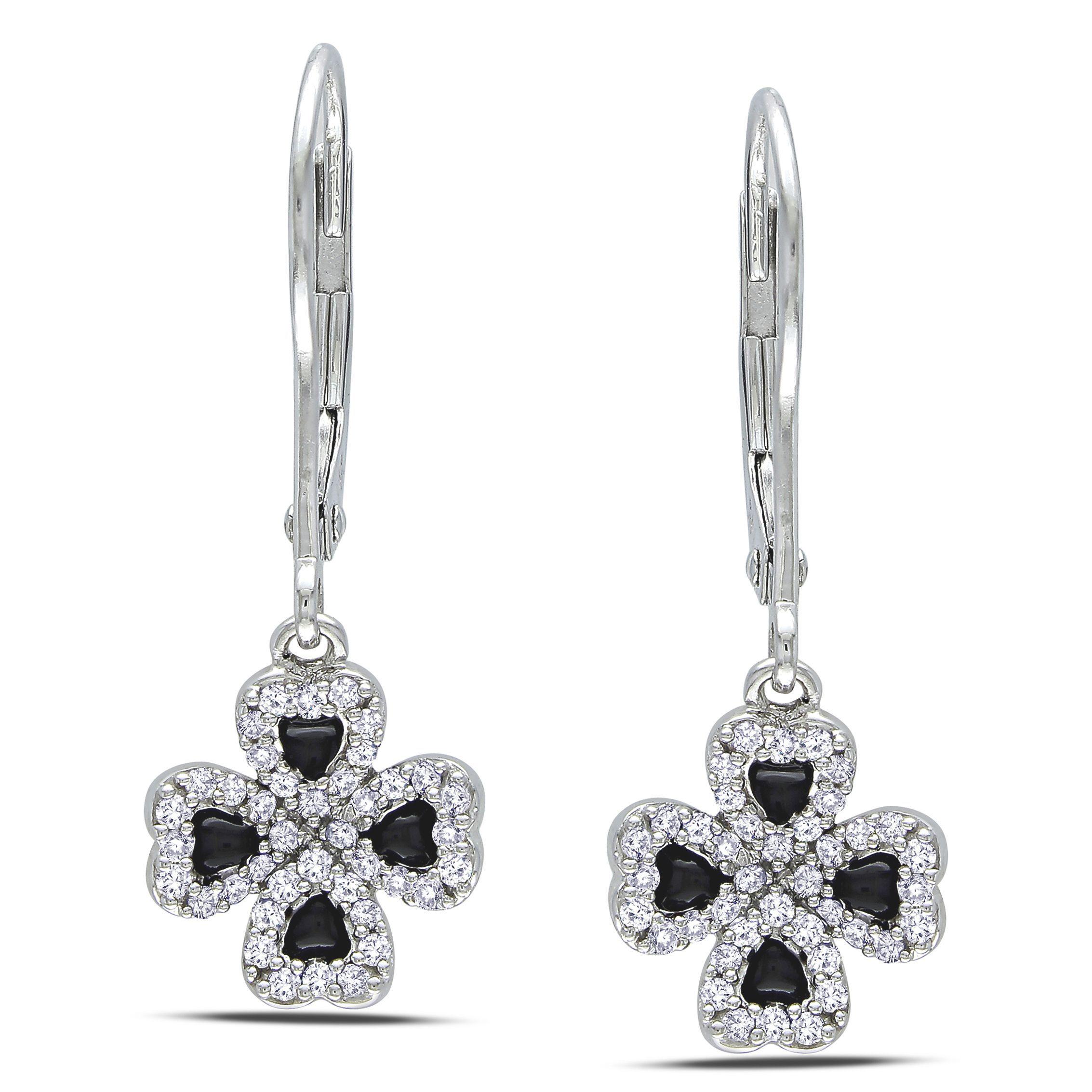 Miadora 14k Gold 1 4ct Black Enamel Four Leaf Clover Diamond
