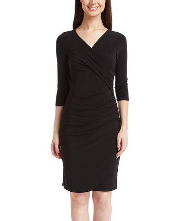 Look at this #zulilyfind! Black Draped Surplice Dress #zulilyfinds