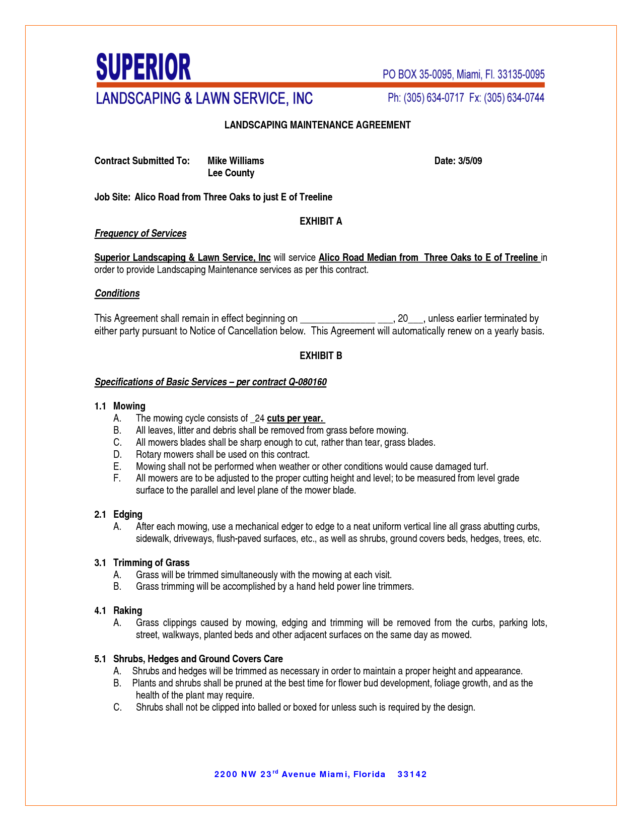 maintenance contract agreement sample