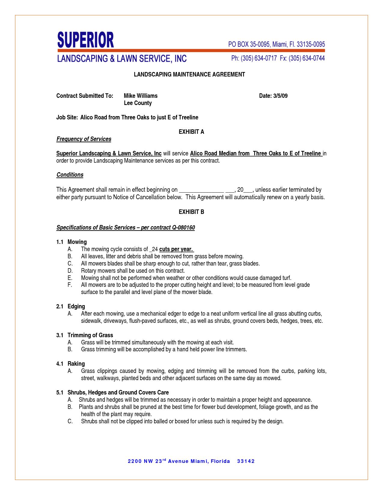 maintenance contract agreement | landscapes | Pinterest | Contract ...
