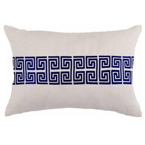 Greek Key Embroidered Pillow - Blue & Natural