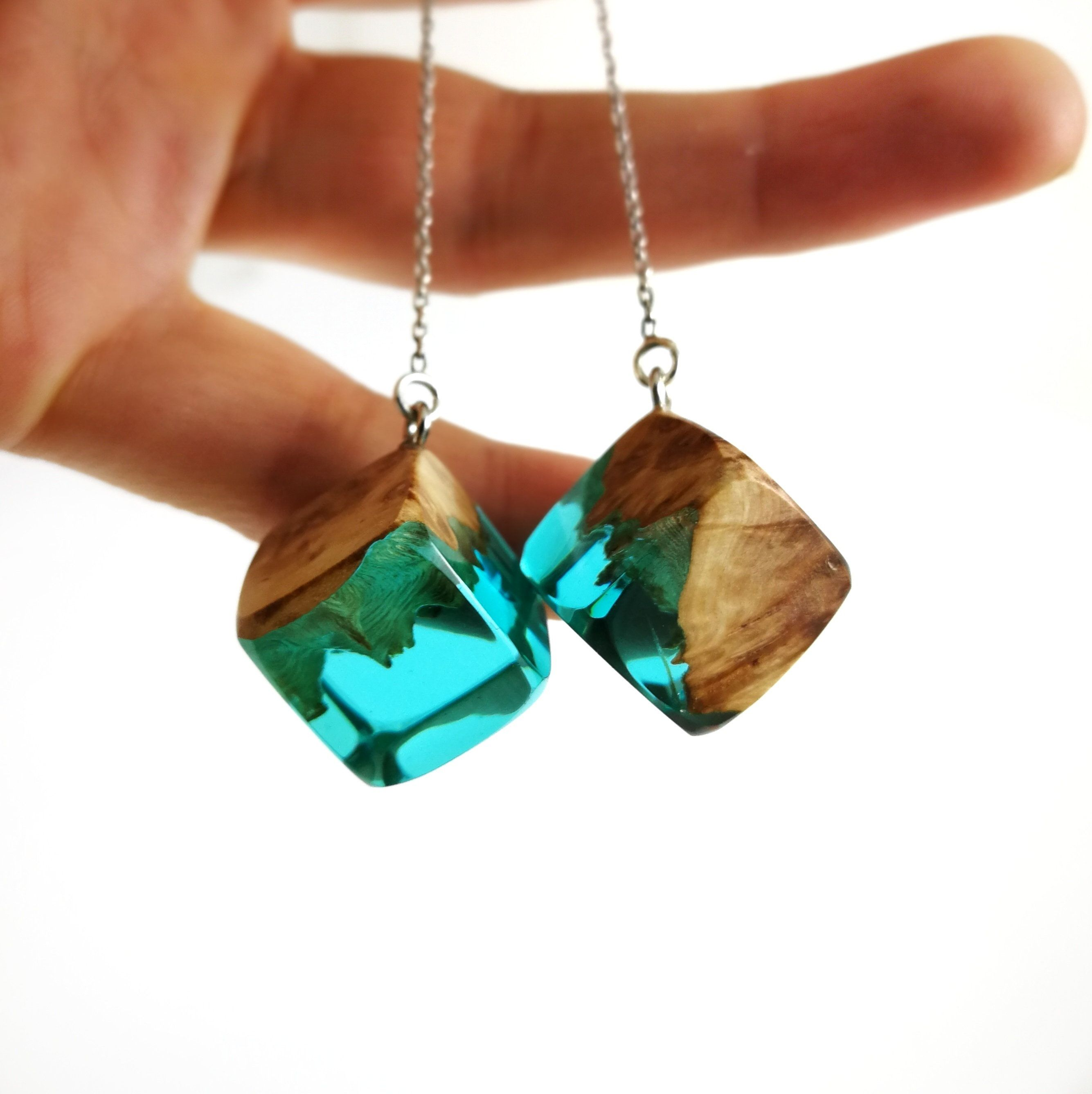 Wood and resin earrings
