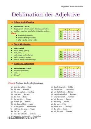 Deklination der Adjektive | Worksheets