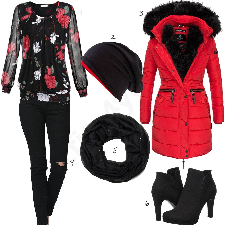 Schwarz Rotes Damenoutfit mit Mantel und Mütze | Outfit für