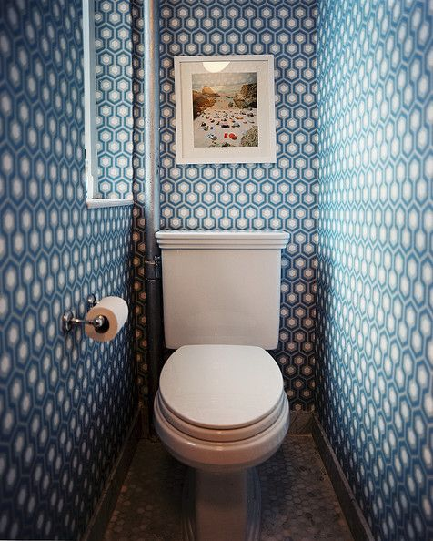 15 Ways To Make The Best Of A Tiny Bathroom Tiny Powder Rooms Toilet Design Bathroom Wallpaper