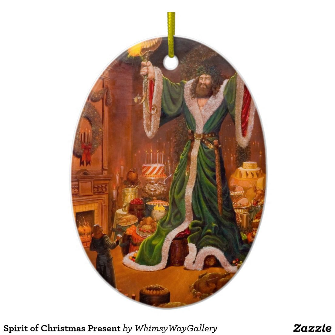 Spirit of Christmas Present Double-Sided Oval Ceramic Christmas Ornament