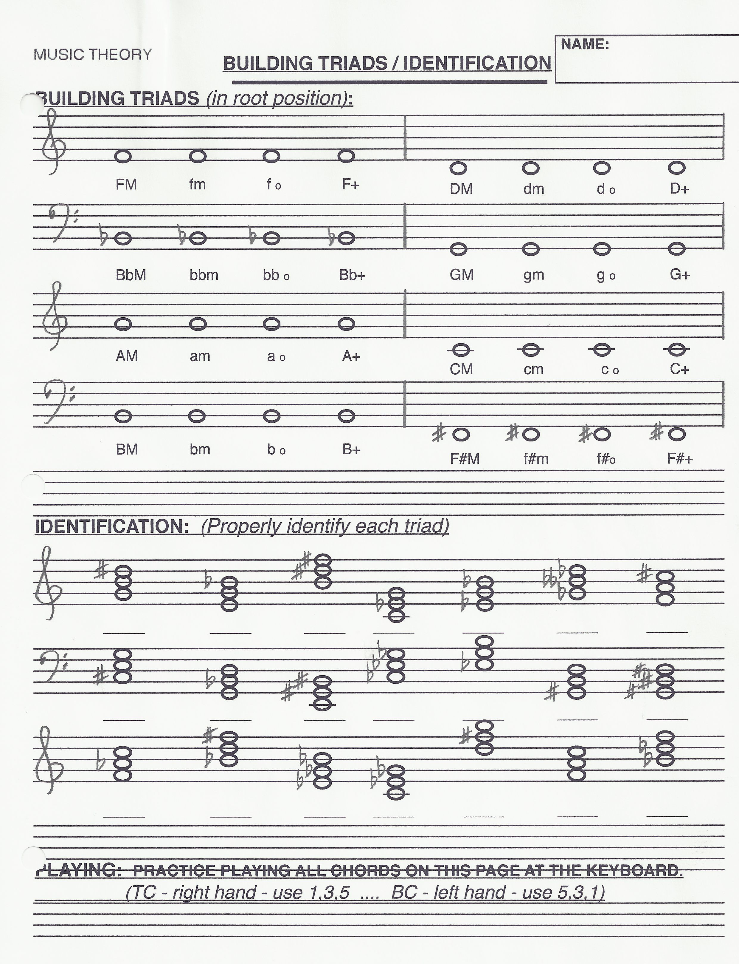 Worksheets Basic Music Theory Worksheets triad building music theory worksheets pinterest building