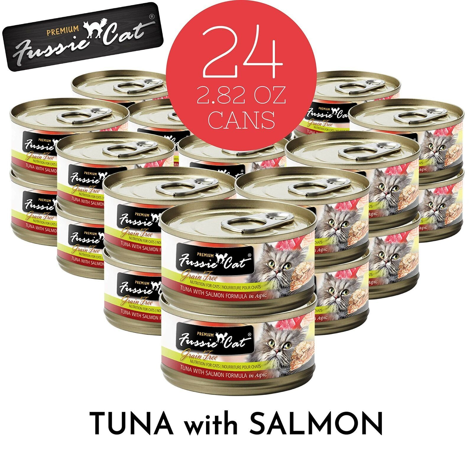 Fussie Cat Premium Tuna with Salmon Canned Cat Food 24 2