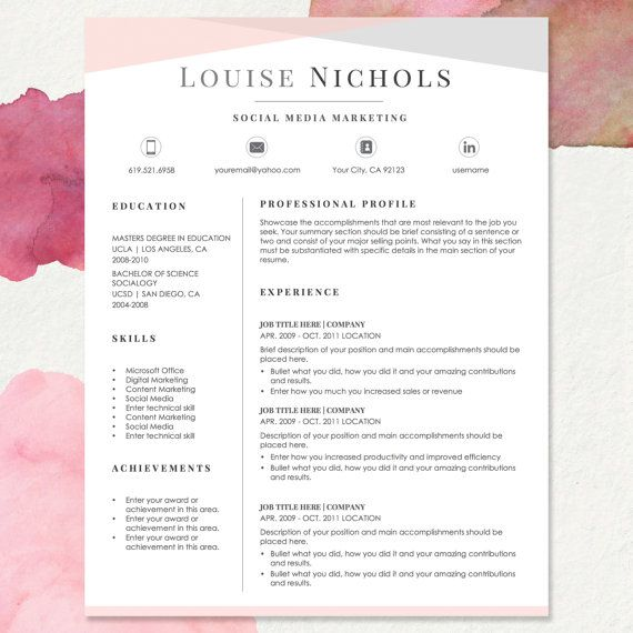 Resume Template for MS Word LOUISE 1  2 Page by templatesnm cv - job cover letter template