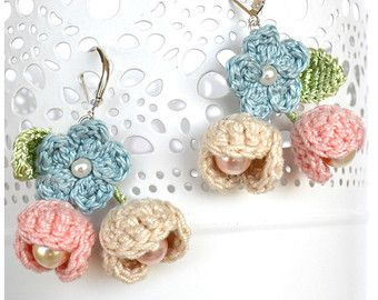 big blue earrings crochet mandale earrings blue by Marmotescu
