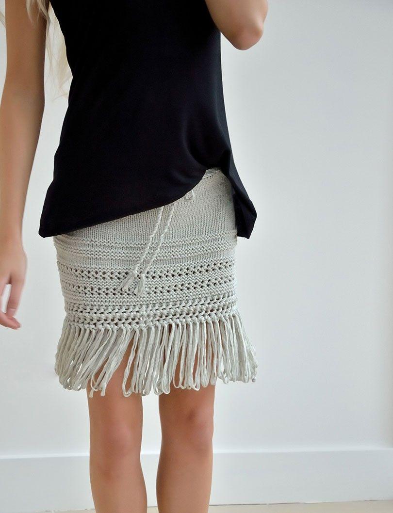 REED textured mini skirt with swishy fringing | Knit it! | Pinterest ...