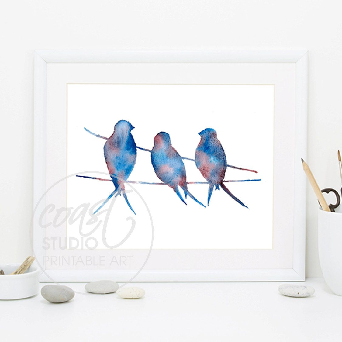 Birds on a Wire / Watercolour Printable Art / Instant Download ...