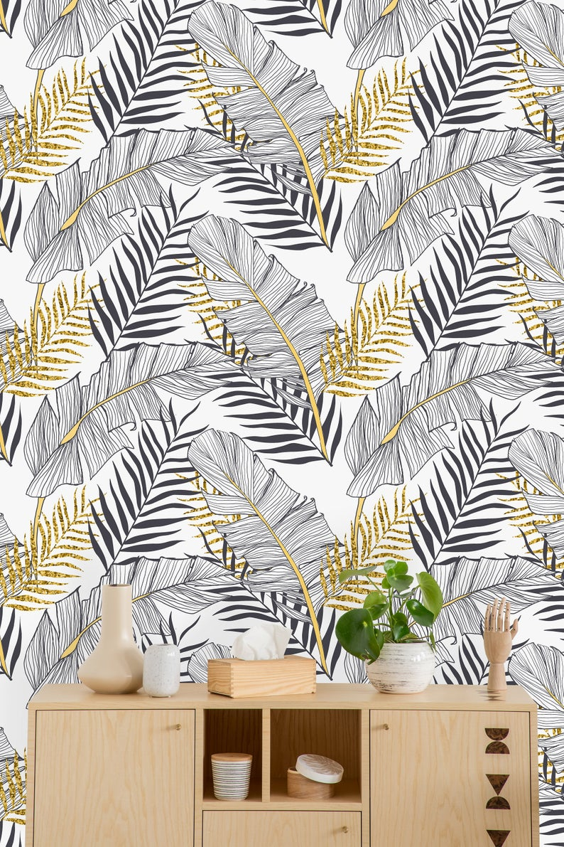 Tropical Gold Leaves Removable Wallpaper Peel And Stick Etsy Removable Wallpaper Wall Wallpaper Wallpaper