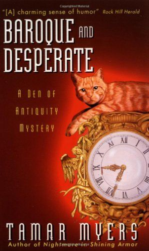 Baroque and Desperate (A Den of Antiquity Mystery) by Tamar Myers http://www.amazon.com/dp/0380802252/ref=cm_sw_r_pi_dp_bNbAvb0EQSRVR