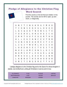 Christian Pledge Of Allegiance Word Search For Kids Christian