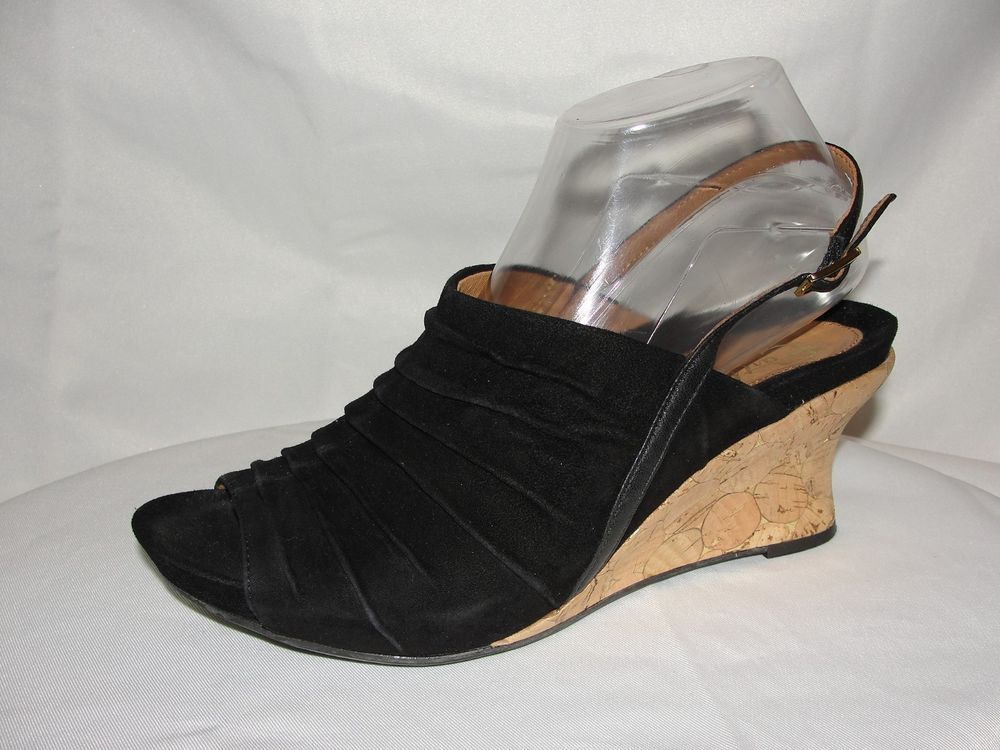 84967c0c0fd EARTHIES Shoes Size 9B Kelderra Black Suede Ruched Slingback Cork Wedge  Sandals  Earthies  PlatformsWedges  CasualDressWork