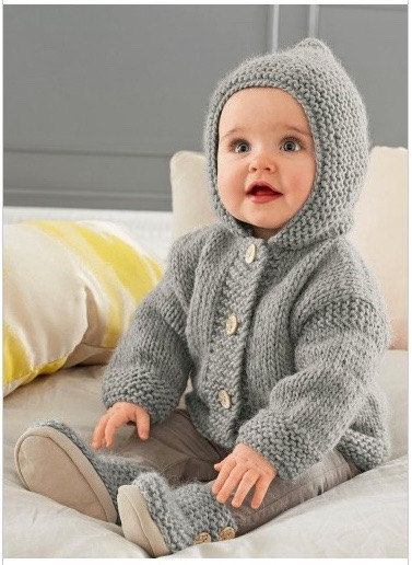 Knitting Pattern Baby Hooded Jacket PDF Pattern Instant by RBKNITS ...