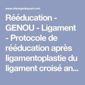 Reeducation Genou Ligament Protocole De Reeducation Apres Ligamentoplastie Du Ligament Croise Anterieur Lca Du Genou Reeducation Genou Genoux Exercice