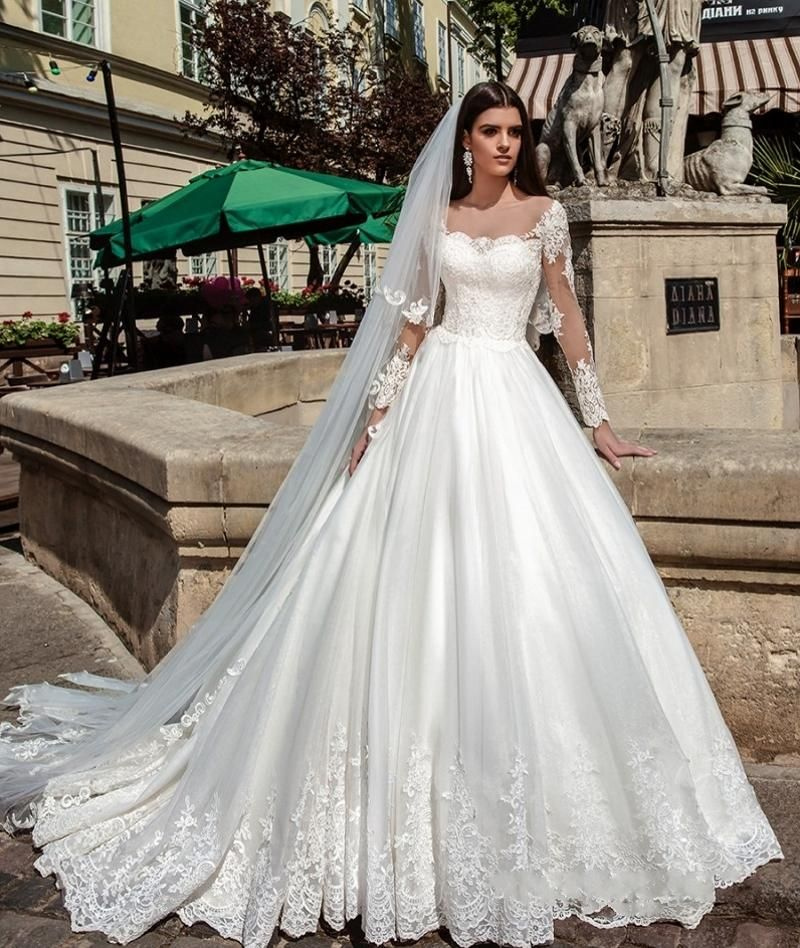 Non White Wedding Dresses: Illusion Long Sleeve Pretty Wedding Dresses Ball Gown