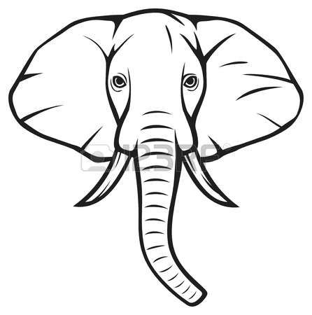 Elephant Outline Template Cartoon Face Drawing Animal Sketches