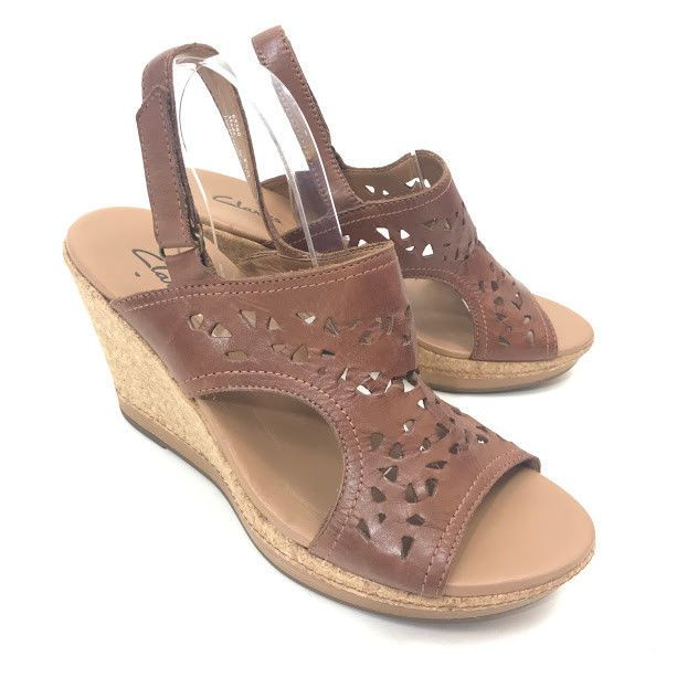 f70ff8e1b4b9 Clarks Womens Platform Wedge Sandals Brown Cut Out Leather Sz 8.5 Cork Peep  Toe  Clarks