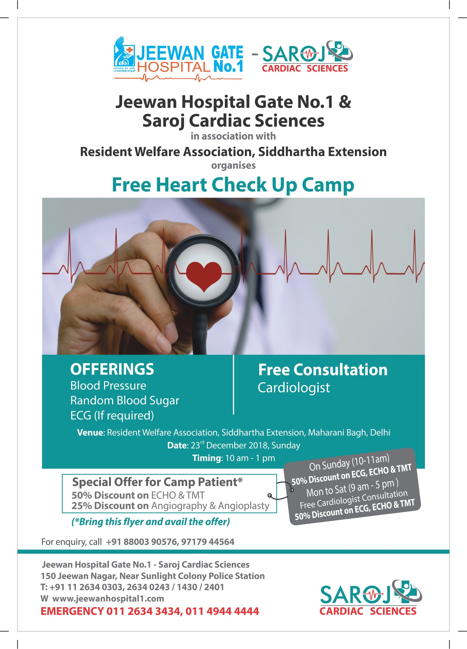 Jeewan hospital gate no 1 saroj cardiac sciences are