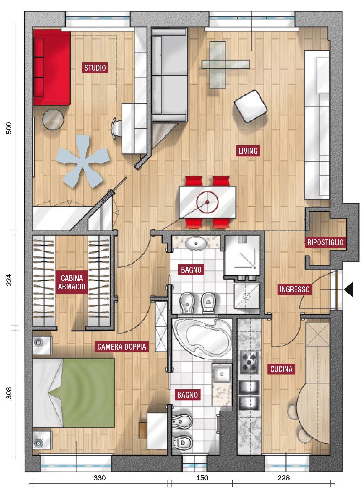 Casa 80 Mq Pianta in 80 mq soggiorno più ampio. prima soluzione | planimetrie