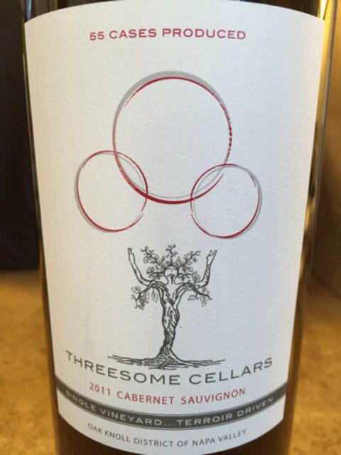 2011 Threesome Cellars Cabernet Sauvignon. Extremely limited production.