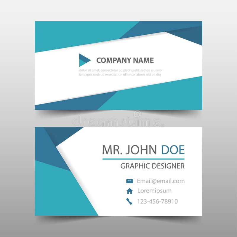 Blue Triangle Corporate Business Card Name Card Template Horizontal Simple C Business Card Template Word Business Card Layout Templates Business Cards Layout