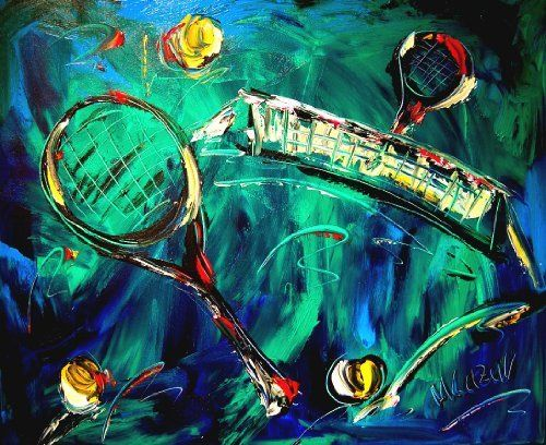 Tennis Modern Abstract Impressionist Art Deco Oil Painting On Canvas Signed With Certificate Of Authenticity Size 20 X Contemporary Art Canvas Painting Art