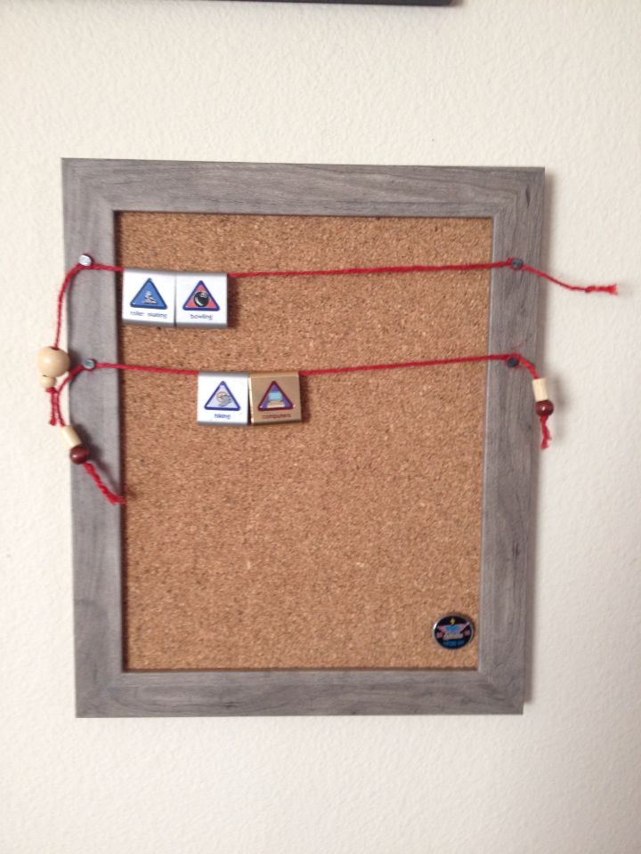Cub Scout Belt loop display made from picture frame, cork, tacks and ...