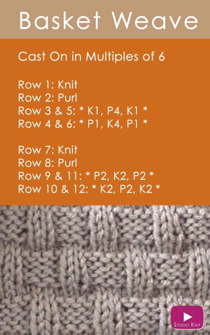 How to Knit the Basket Weave Stitch by | Pinterest | Tejido ...