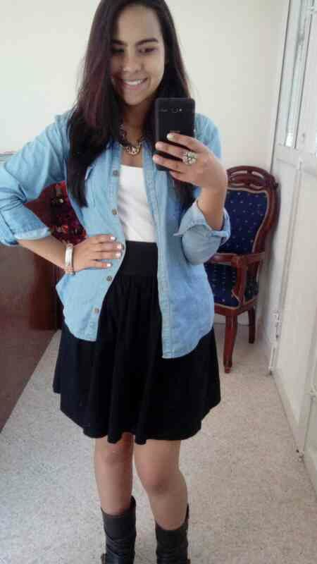 Chambray Shirt, Black skirt and Leather boots. Here you can find all my outfits, this is an amazing app  MySparklingDiary