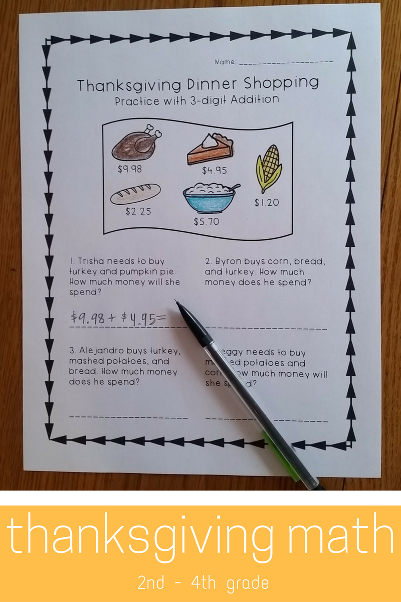 Thanksgiving Math Worksheets - Practice with 3-digit Addition and ...