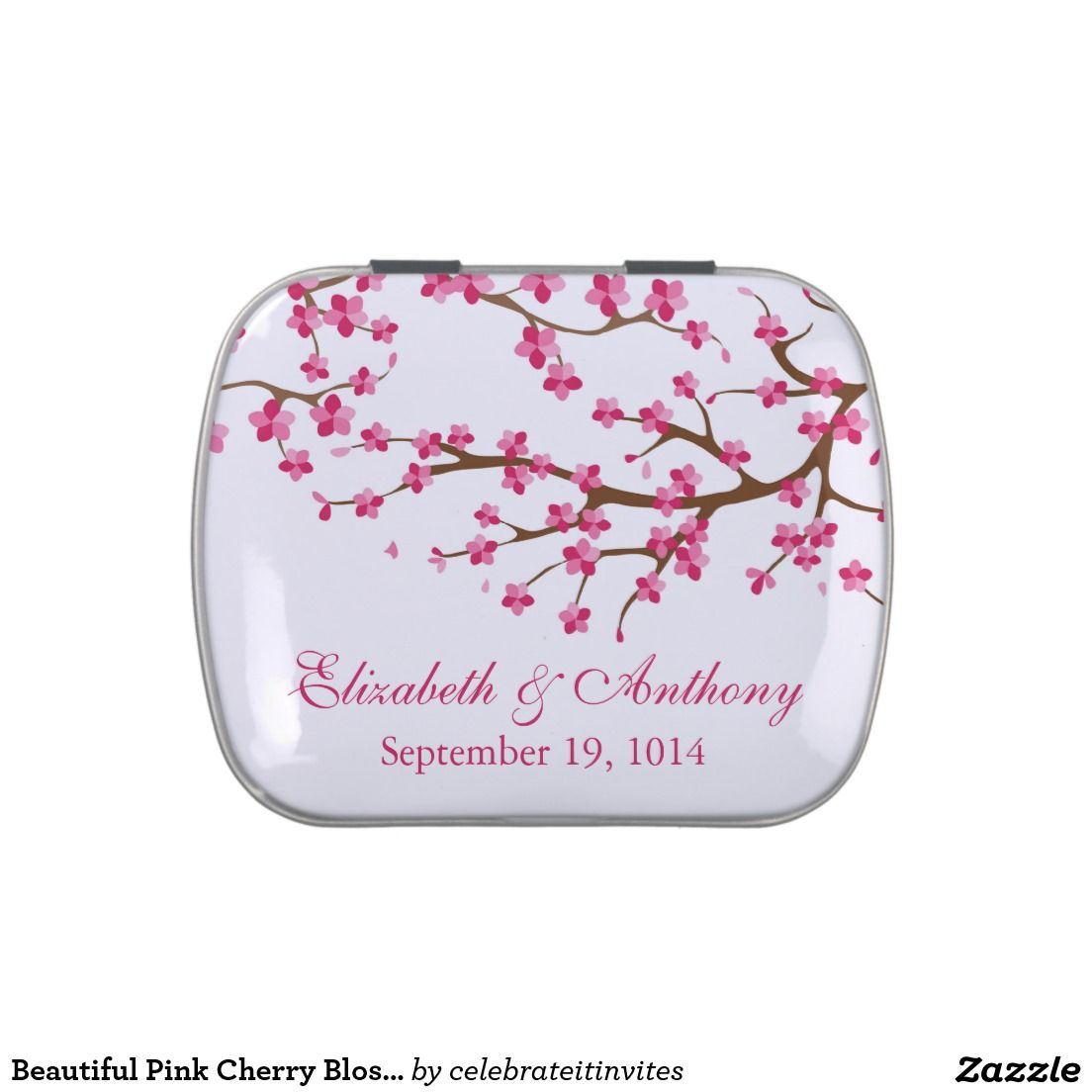Beautiful Pink Cherry Blossom Wedding Favor Candy Candy Tin | Bridal ...