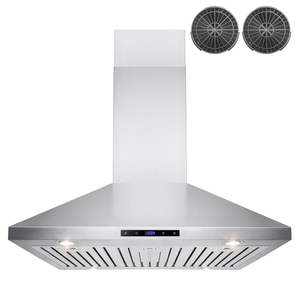 Akdy 36 In Convertible Kitchen Island Mount Range Hood In Stainless Steel With Touch Control And Carbon Filter Rh0260 The Home Depot Range Hood Cooker Hoods Kitchen Range Hood