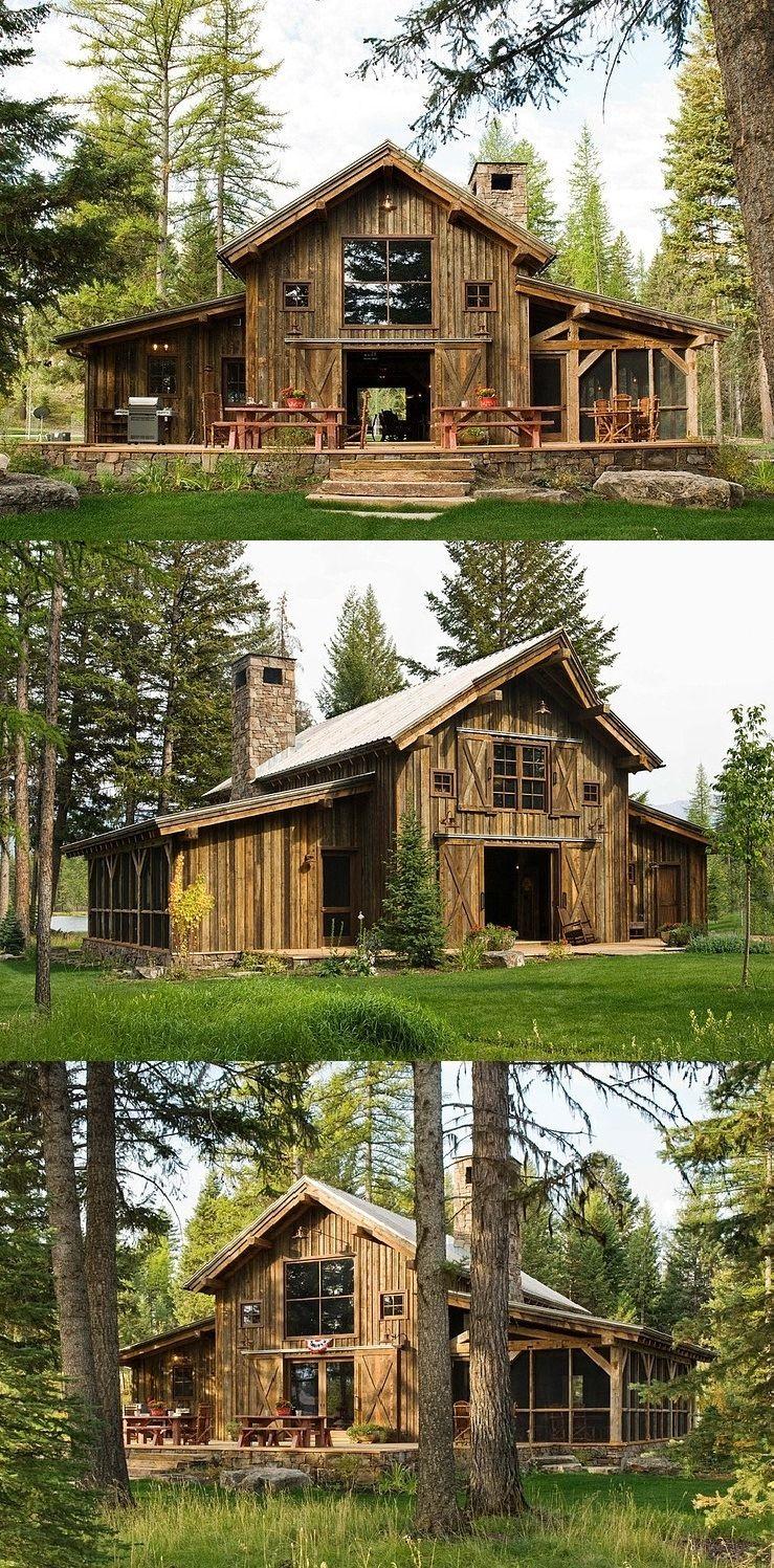 Casinha De Sonhos Cabana Rustica Situada Em Swan Valley Montana Eua Barn Style House Craftsman House Barn House Plans