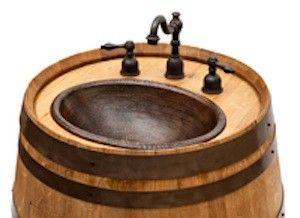 Napa Valley Wine Barrels Are Transformed Into Handcrafted Vanities - Wine barrel bathroom vanity for bathroom decor ideas