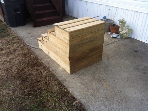 Unique Wooden Portable Steps For Your Travel Trailer By The Pool