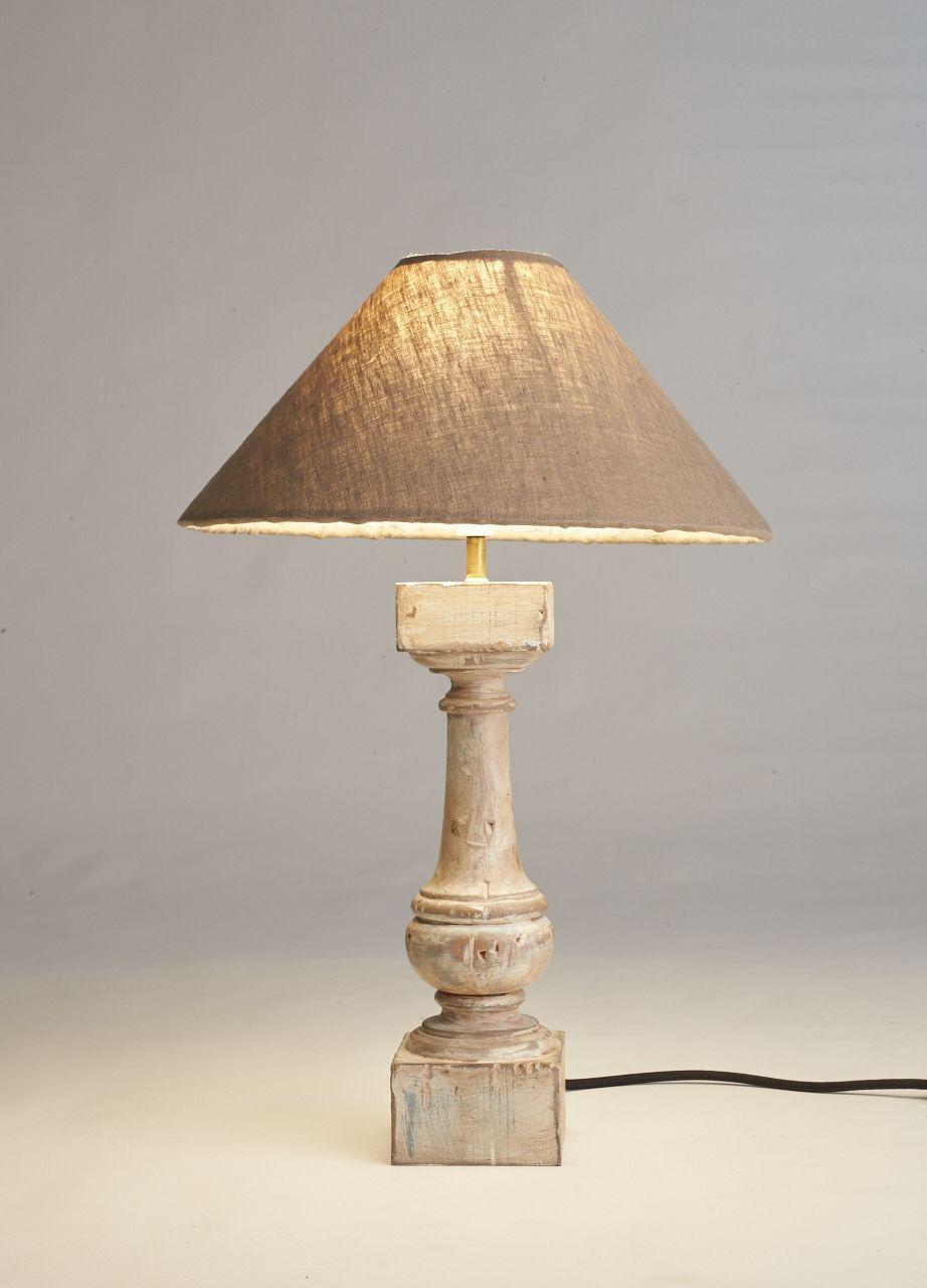 Distressed Wood Side Table Lamp Handmade Design Pure