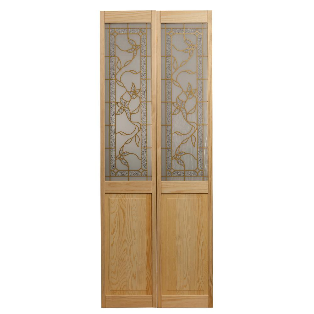 Pinecroft 31 5 In X 78 625 In Giverny Unfinished Pine 1 2 Lite Decorative Glass Over Raised Panel Solid Core Wood Bi Fold Door 861728 Bifold Door Hardware Stained Glass Panels Wood Interiors