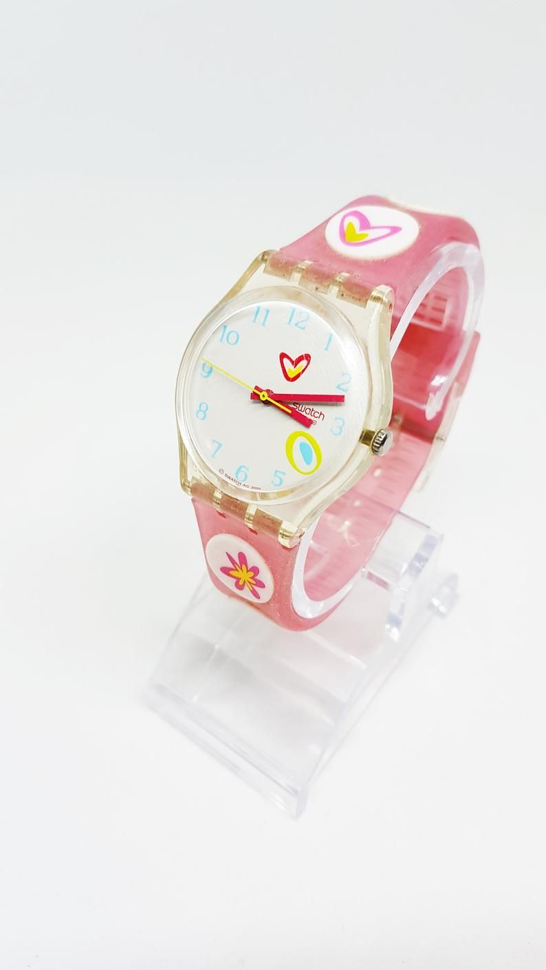 Pink Swatch Watches For Women Ladies And Womens Butterfly Etsy