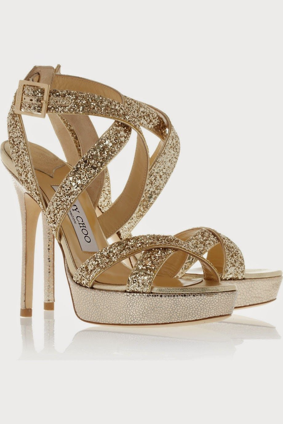 Jimmy Choo Hawk glittered leather platform sandals Heel measures  approximately 5 inches with a 1 inch platform. Slip these Jimmy Choo platfo