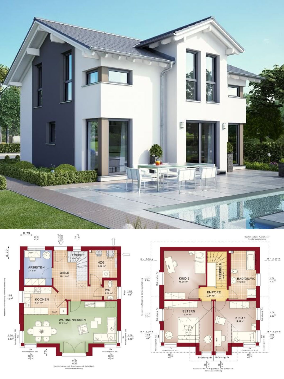 modernes haus mit satteldach architektur querhaus pool einfamilienhaus bauen grundriss. Black Bedroom Furniture Sets. Home Design Ideas