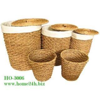 Water Hyacinth Laundry Hamper Set Of 5 Made In Vietnam Kain