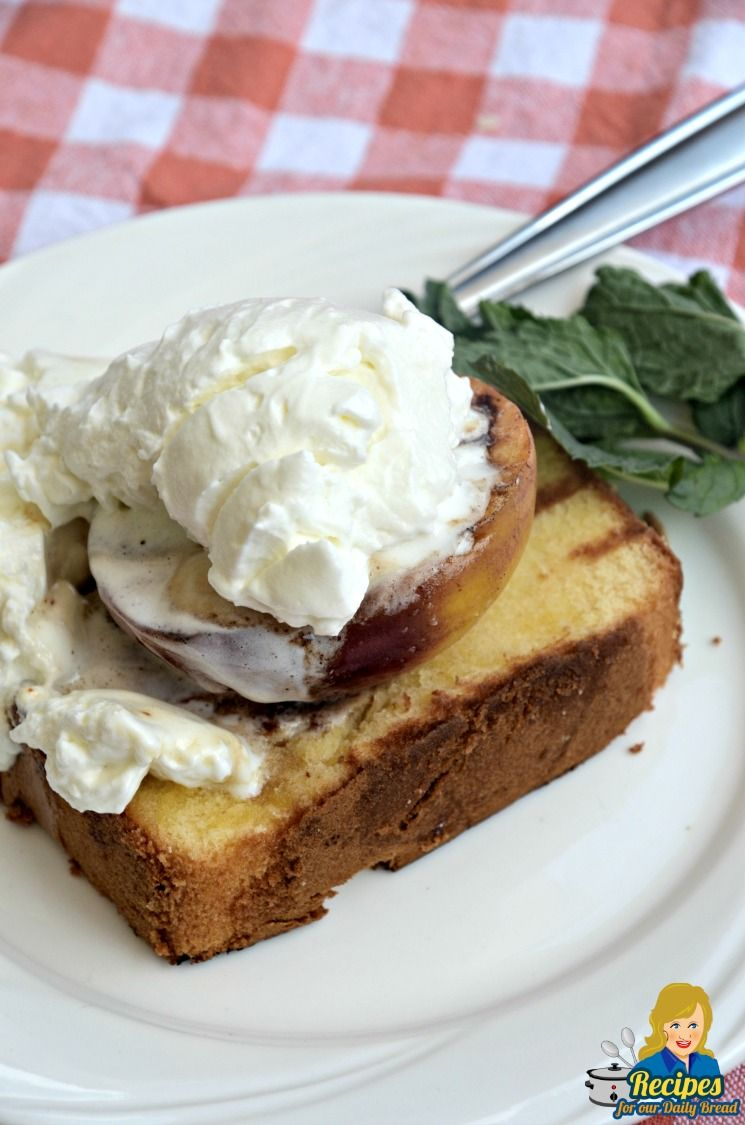 GRILLED PEACHES and POUND CAKE images