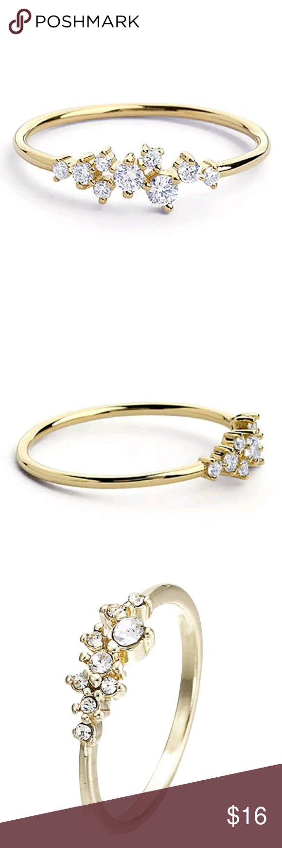 Brand New Minimalist Cubic Zirconia Gold Ring Boutique