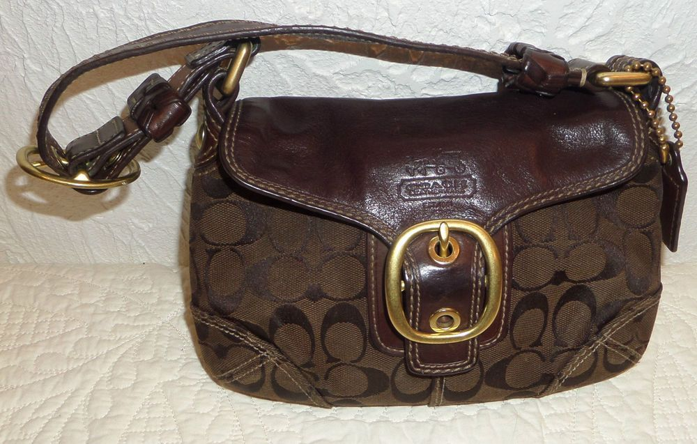 5d25b8a3f9 COACH SIGNATURE F0773 11441 BLEECKER SOHO BROWN LEATHER MONOGRAM CANVAS  HANDBAG  Coach  Hobo